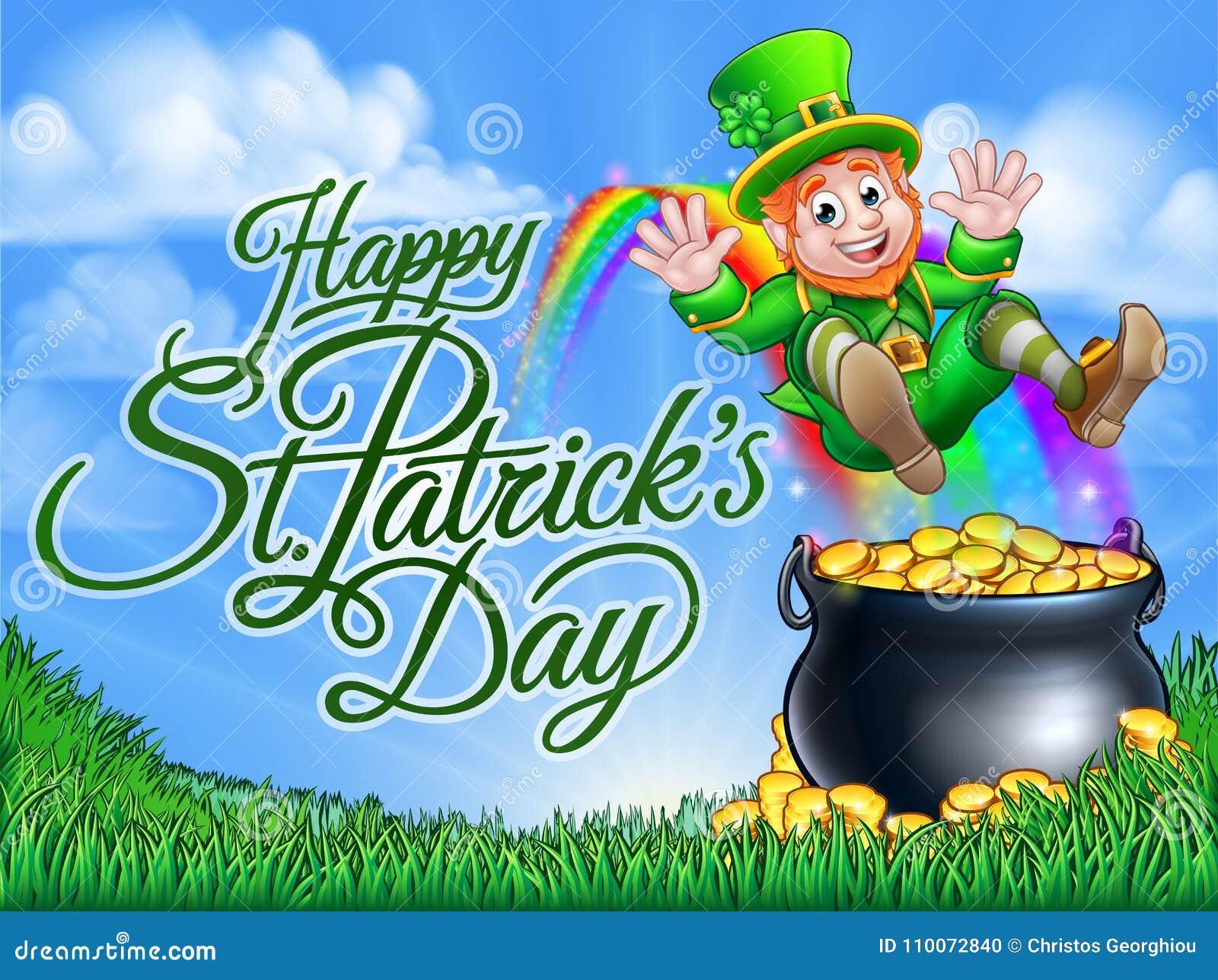 St Patricks Day Leprechaun Pot Of Gold End Rainbow Stock