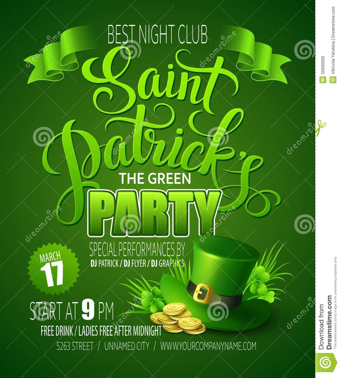 St. Patricks Day Poster. Vector Illustration Stock Vector - Image ...