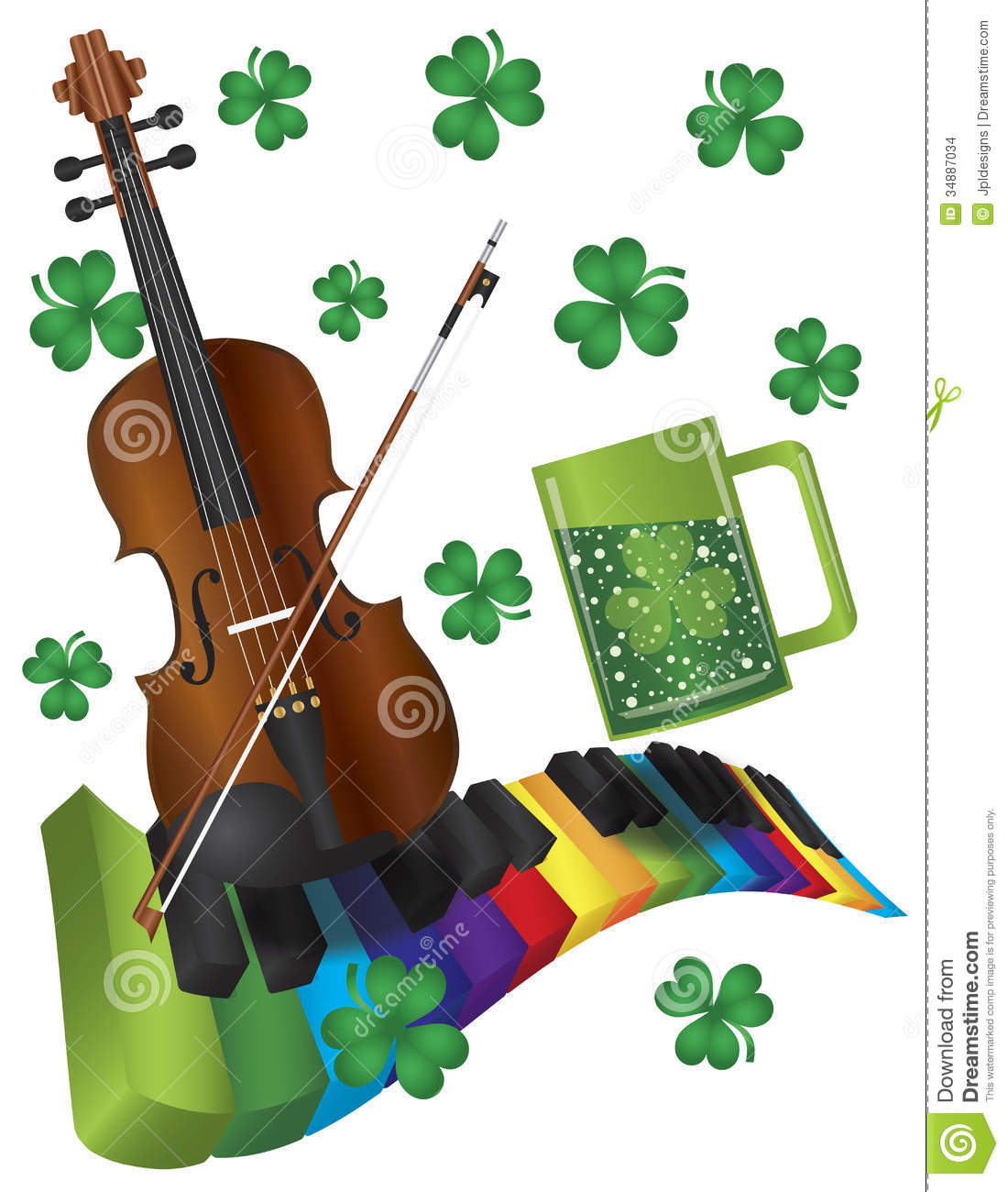 St Patricks Day Violin With Colorful Piano Keyboar
