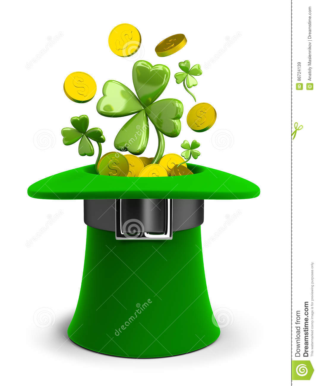 St Patricks hat with coins and clovers