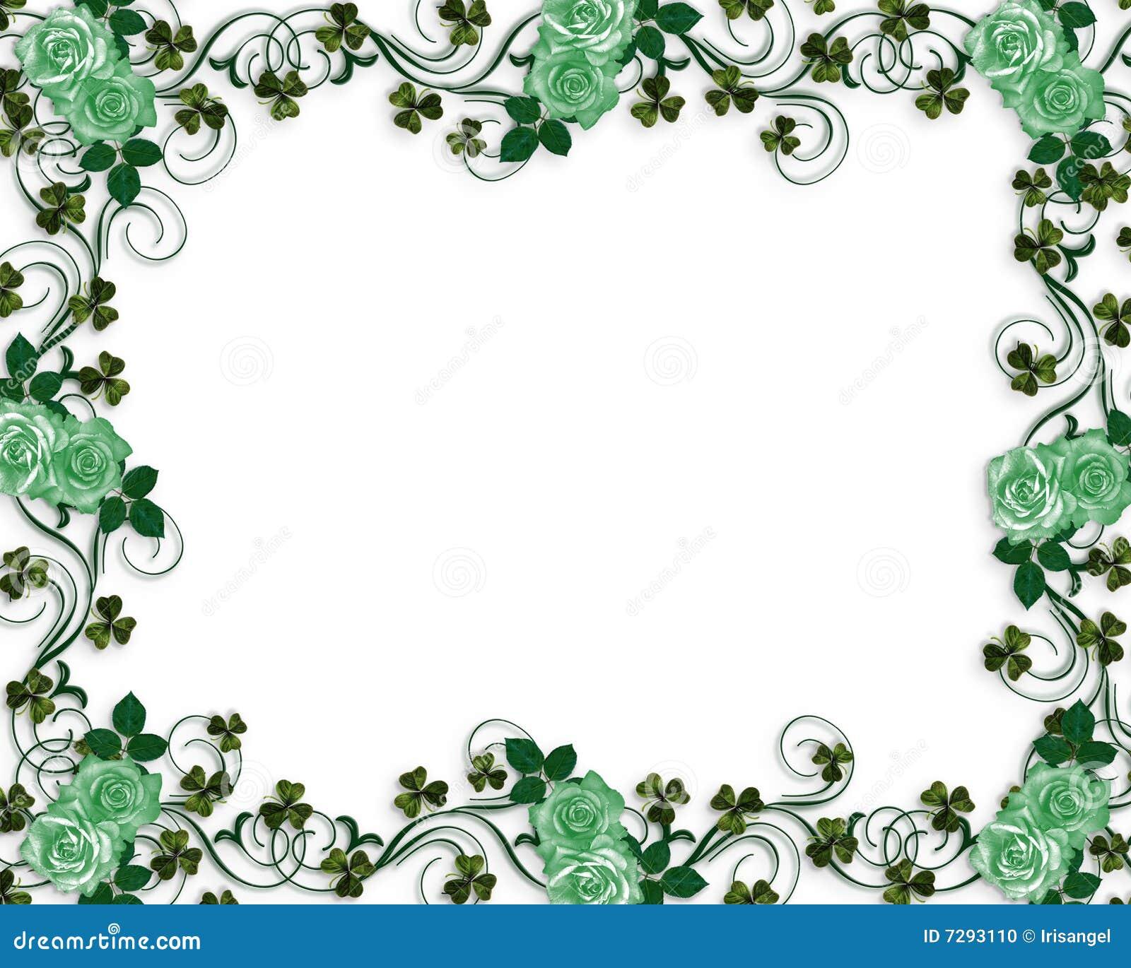 Irish Roses Wedding Border Stock Photo