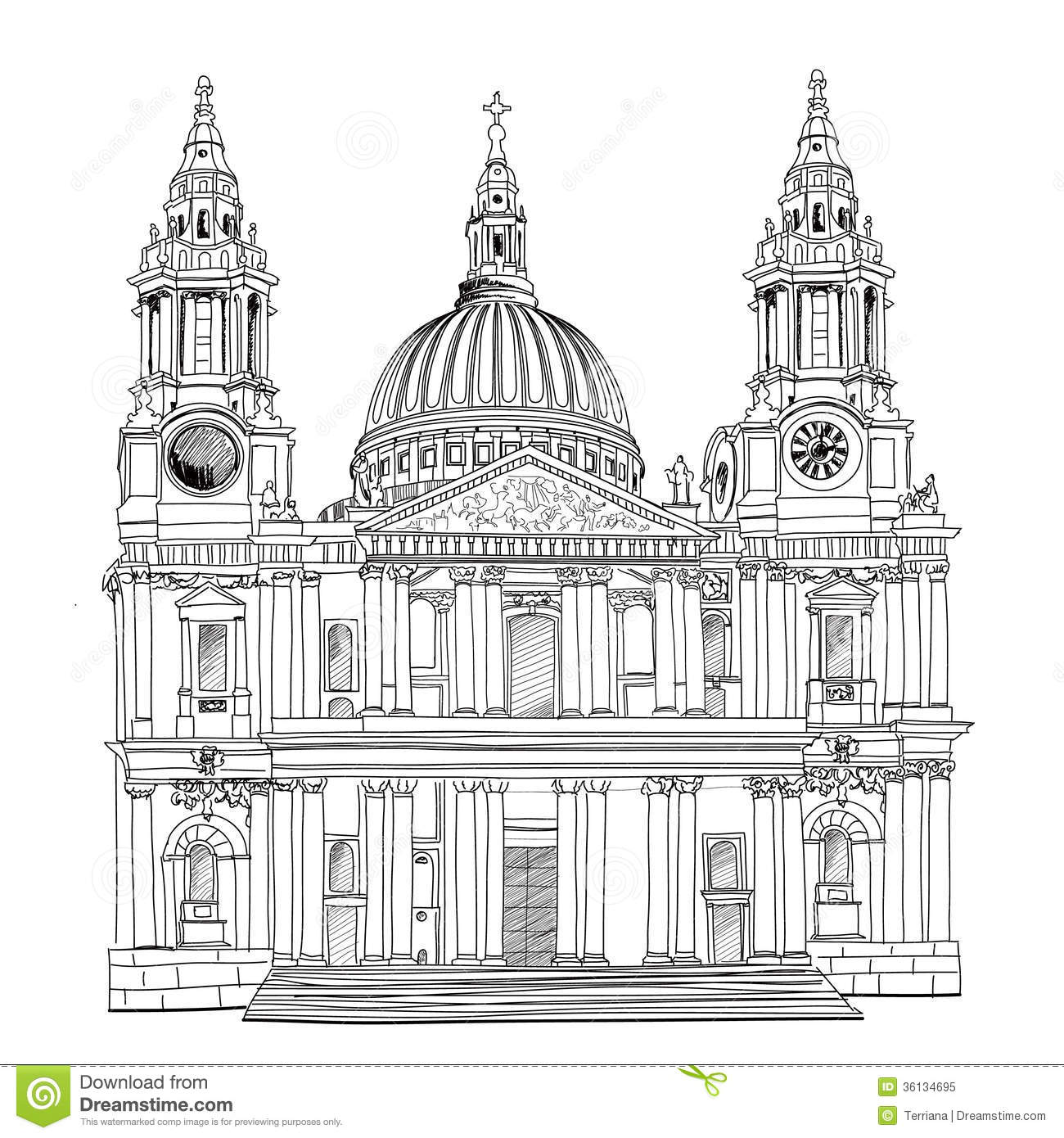 St. Paul Cathedral, London, UK. Church Isolated On White ...