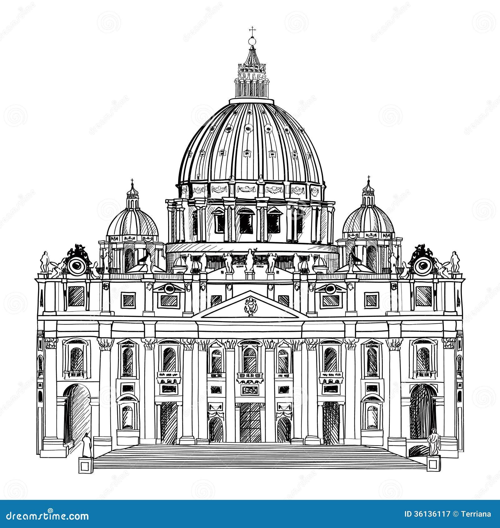 St. Peter katedra, Rzym, Włochy. Sławny punkt zwrotny. Podróży etykietka.