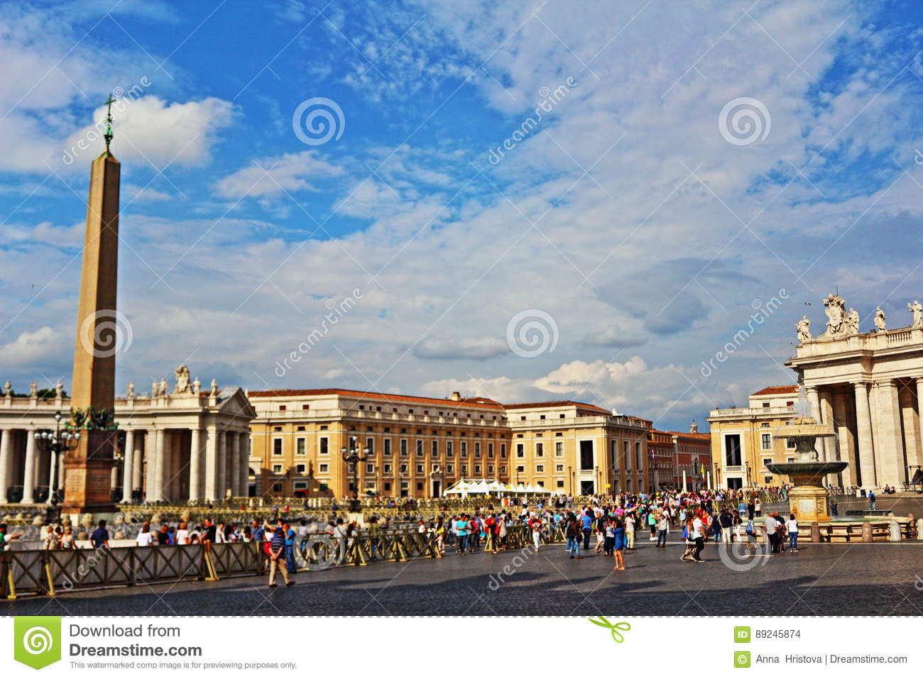 St Peter`s square view Vatican Rome Italy