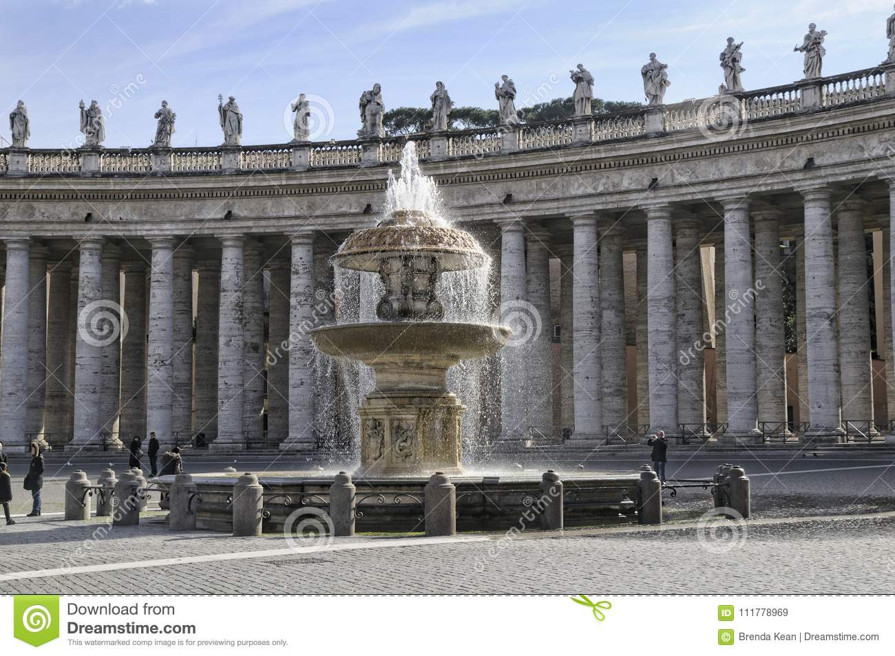 The Beautifil Fountains in St Peters Square in Rome