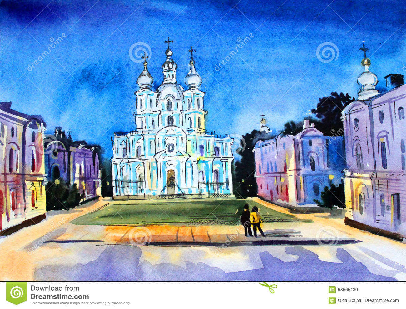 St Petersburg akwareli Smolny katedra