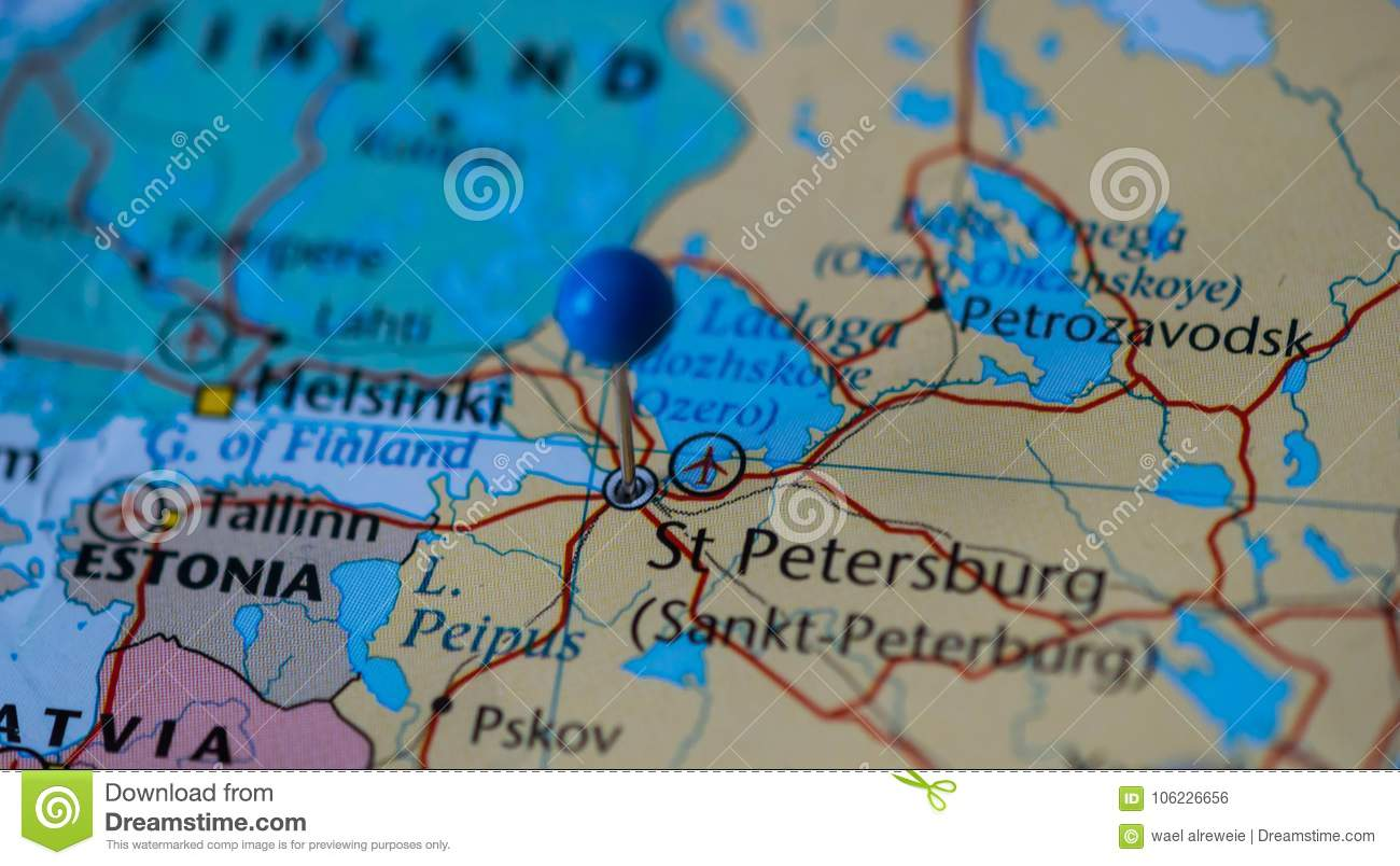 St Petersburg City Pinned On A Map Of Russia Among Other World Cup