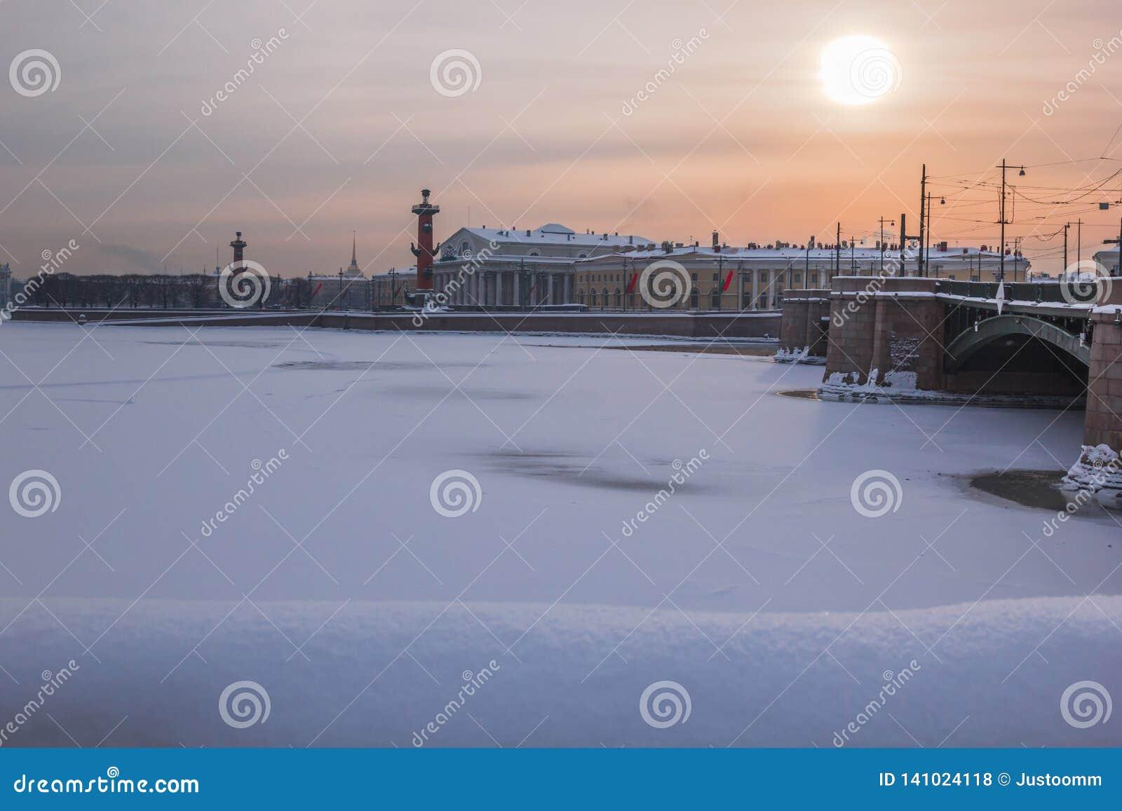 St Petersburg, Rússia - 27 de janeiro de 2019: Opinião do inverno de St Petersburg, Rússia, com a ponte do palácio, o Rostral