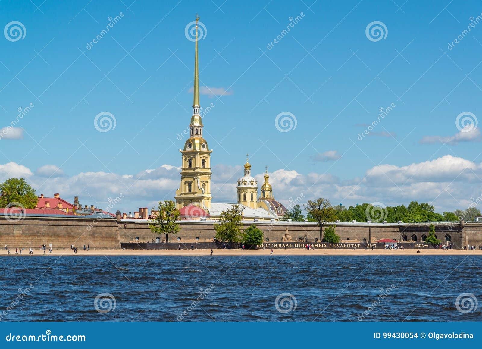 St Petersburg Rosja, Czerwiec, - 03 2017 Peter i Paul forteca Neva i rzeka