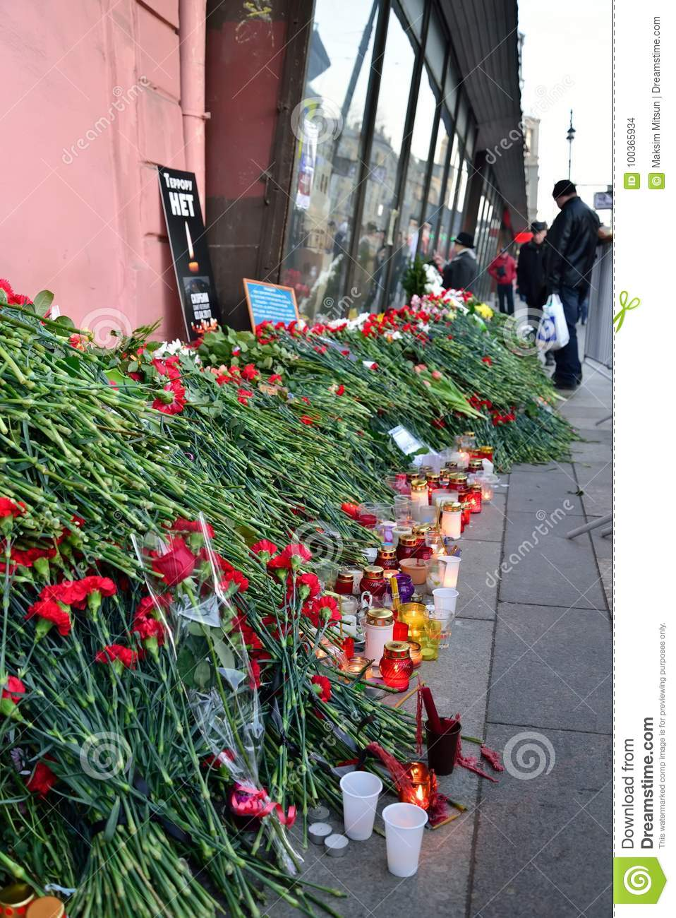 Funeral Flowers At The Poster Terror Is Not Near The Metro Insti