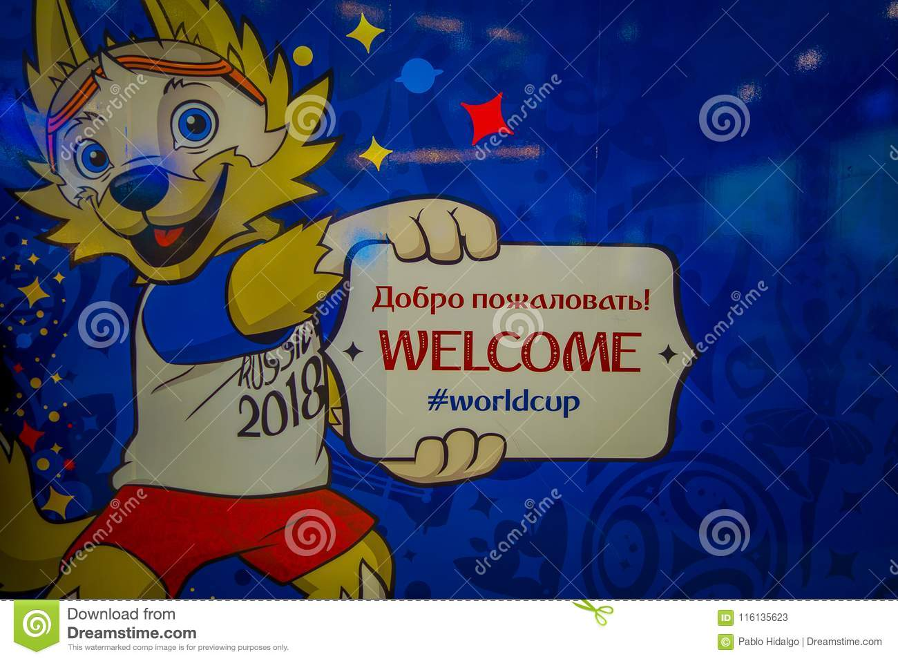 St Petersburg Russia 02 May 2018 The Official Mascot Of The 2018 Fifa World Cup Wolf Zabivaka On The Theatrical Editorial Stock Photo Illustration Of Fifaworldcup International 116135623