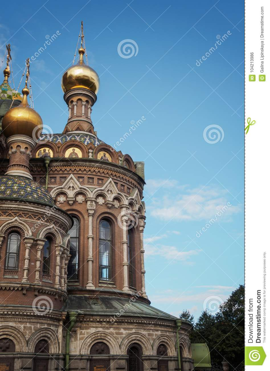 St. Petersburg, Russia - September 10, 2017:View of the Dome of the Savior on Blood in St. Petersburg