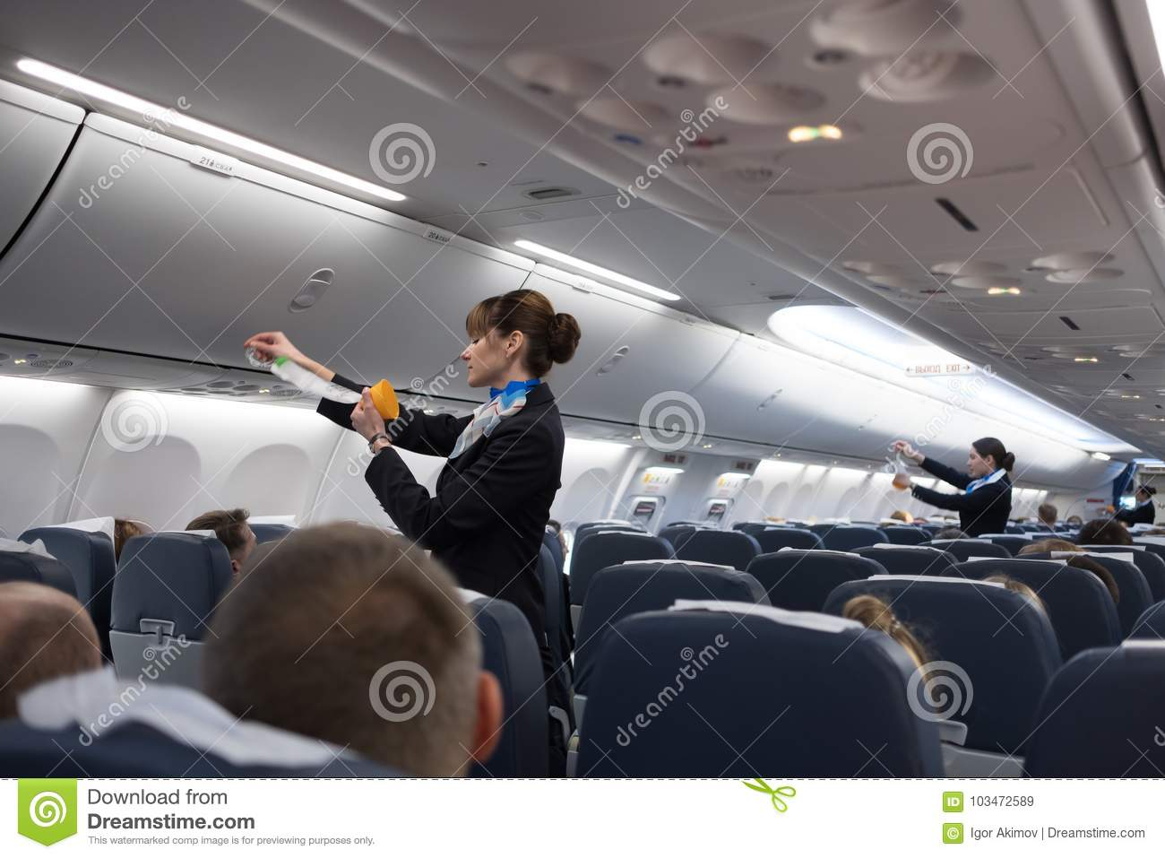 Safety Briefing On Board An Aircraft Editorial Stock Image ...
