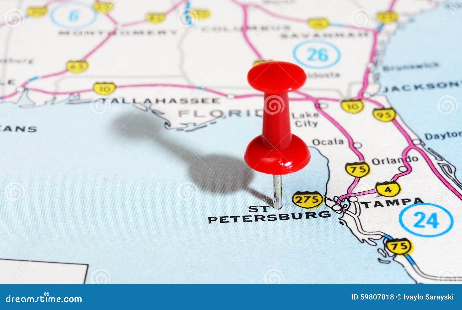 St  Petersburg USA Florida Map Stock Photo - Image of states