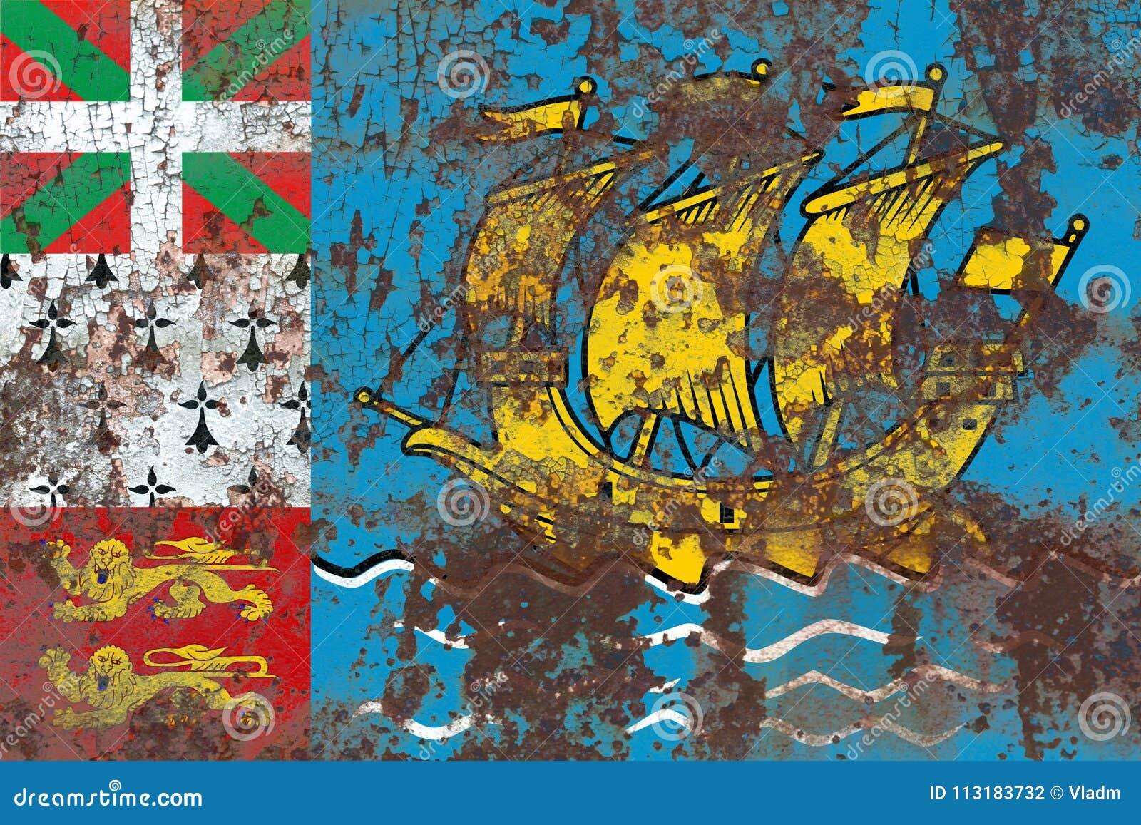 St Pierre-miquelon grungeflagga, Frankrike anhörigterrito