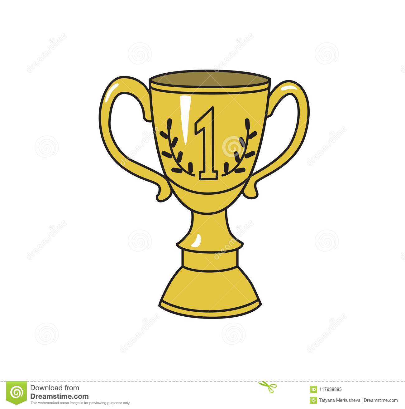 1st prize trophy cup. Achivement symbol, icon. Colored line vector illustration. Isolated on white background