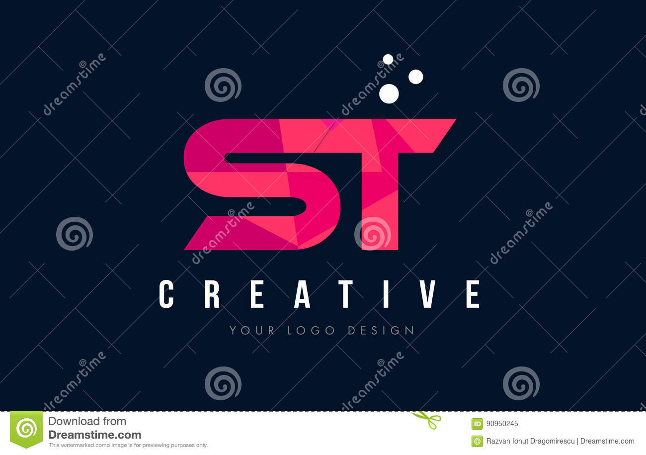 St S T Letter Logo With Purple Low Poly Pink Triangles