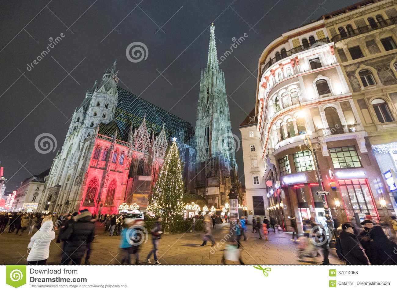 Christmas In Austria Holidays.St Stephan Cathedral In Vienna Austria Stock Photo Image
