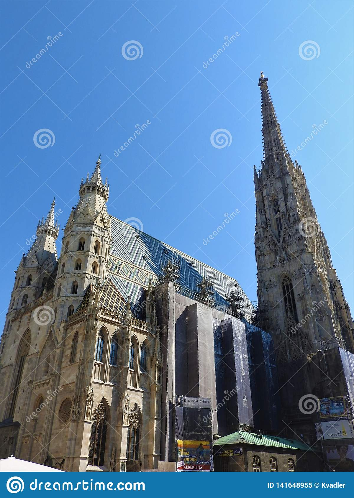 St. Stephen`s Cathedral in Vienna, Austria in a beautiful autumn day