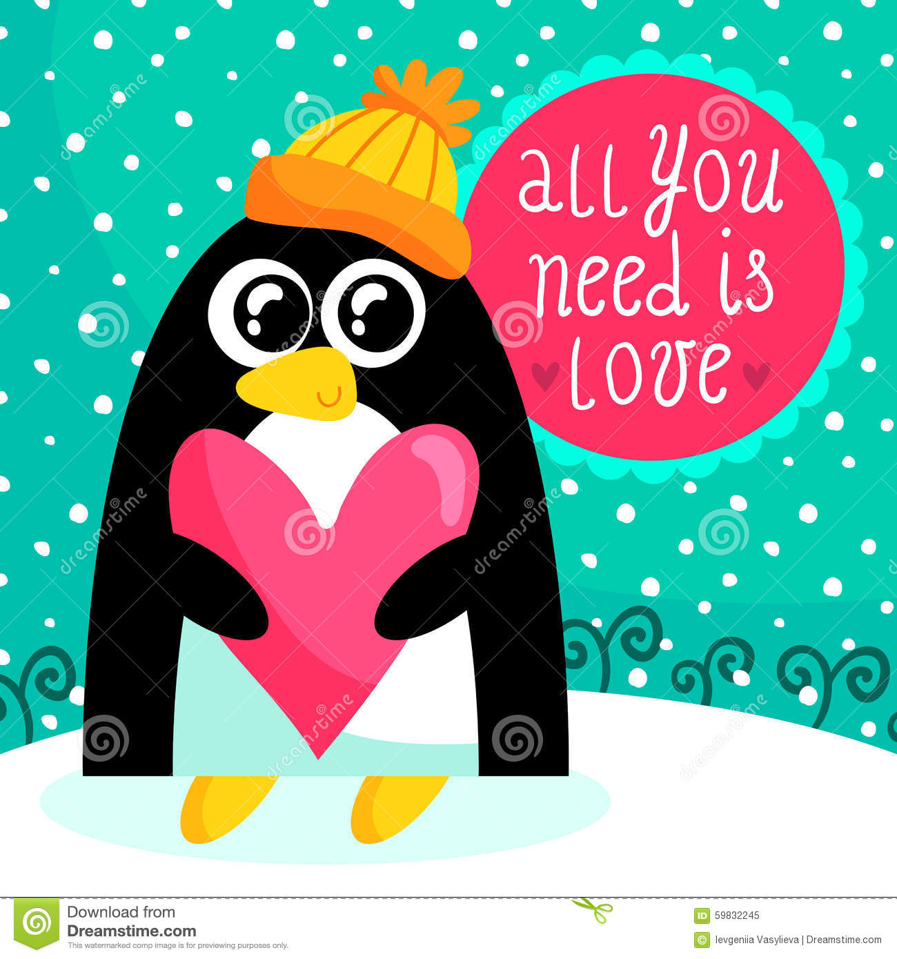St Valentines Day Card With Cute Penguin Vector Image – Saint Valentine Card