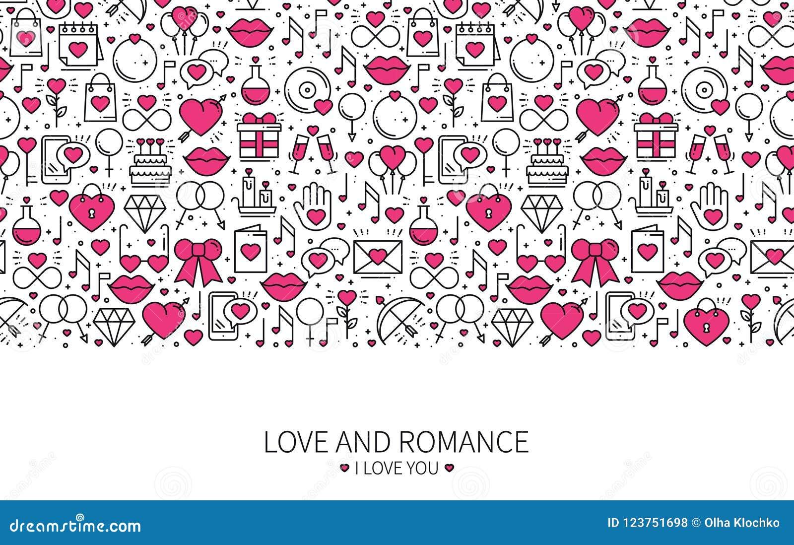 St Valentine`s Day Line Banner. Love, Romantic, Wedding Theme ...