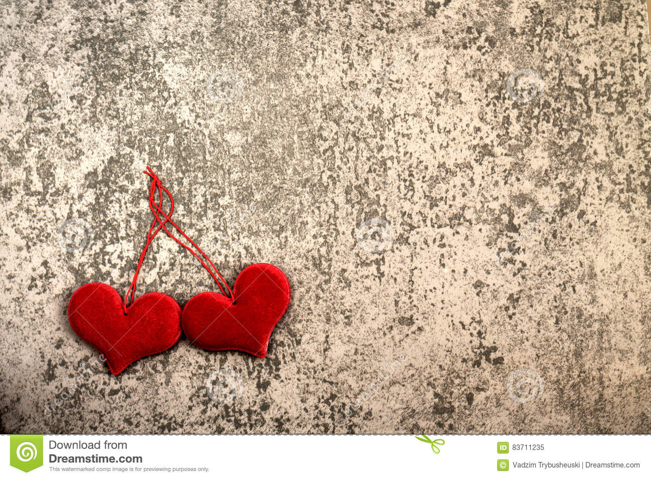 St. Valentine`s Day Two Red Hearts On Gray Background Stock Photo