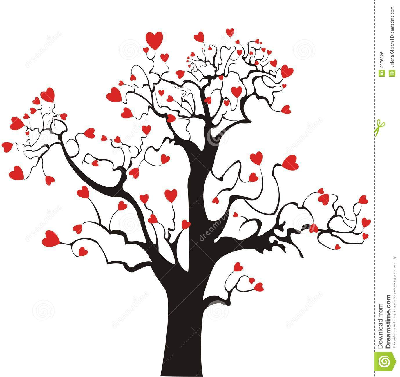 Red Love Hearts On Tree Royalty Free Stock Image - Image ...