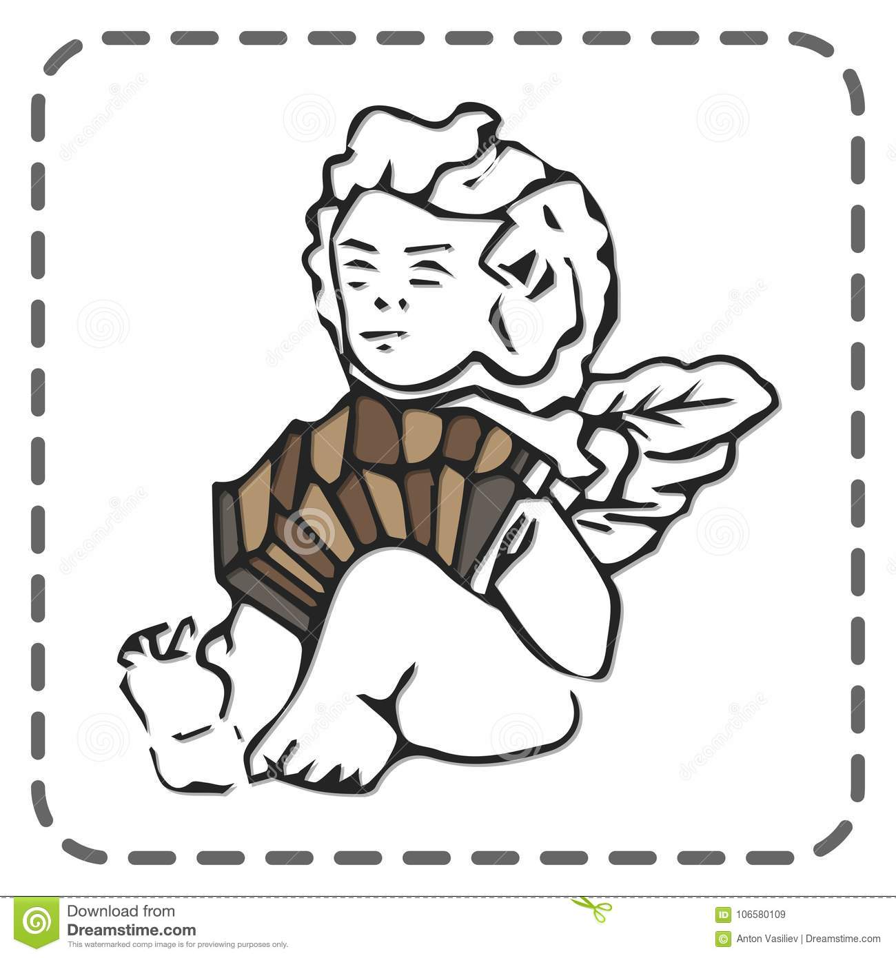 St Valentines Greeting Card Angel Playing Accordion Vector Stock