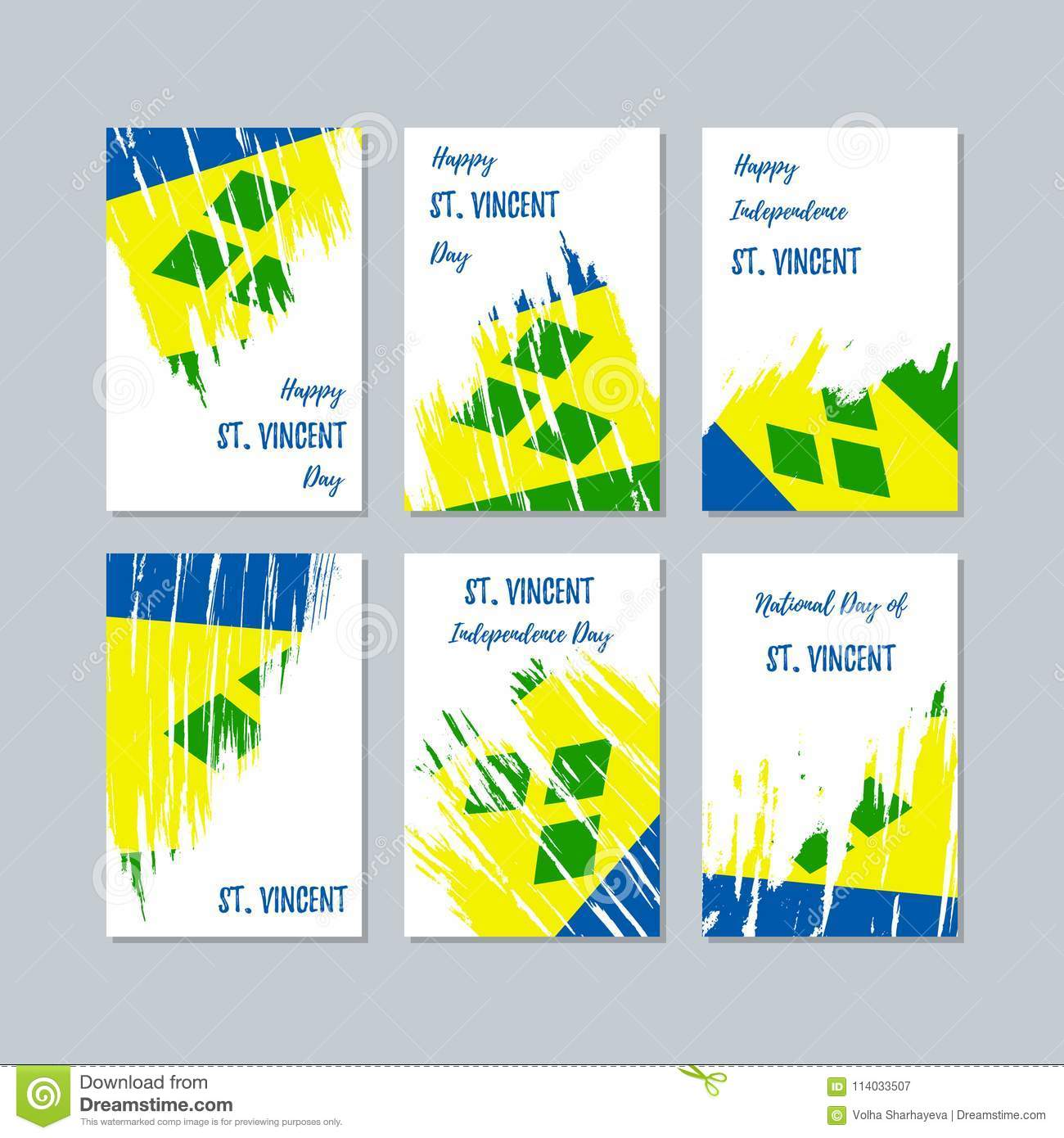 St  Vincent Patriotic Cards For National Day  Stock Vector