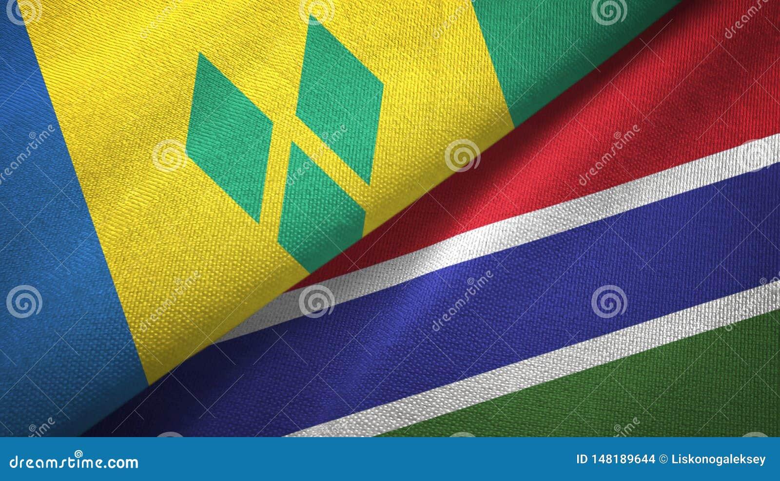 St. Vincent und die Grenadinen und Gambia zwei Flaggen