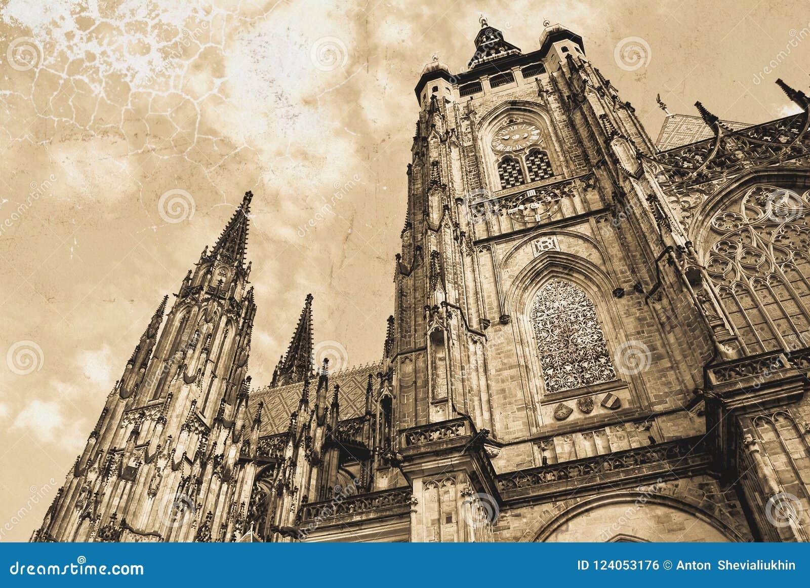 St Vitus Cathedral à Prague Cathédrale catholique gothique dans le château de Prague dans la République Tchèque