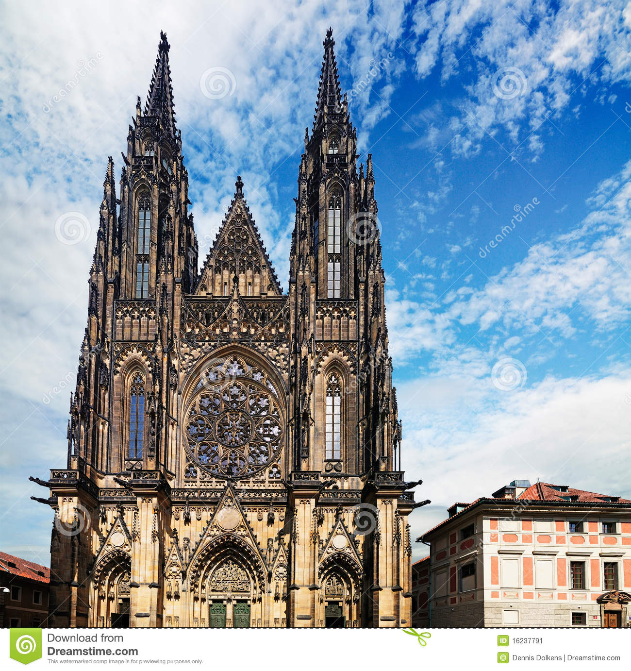 Saint Vitus Cathedral, the largest church in the castle of Prague ...