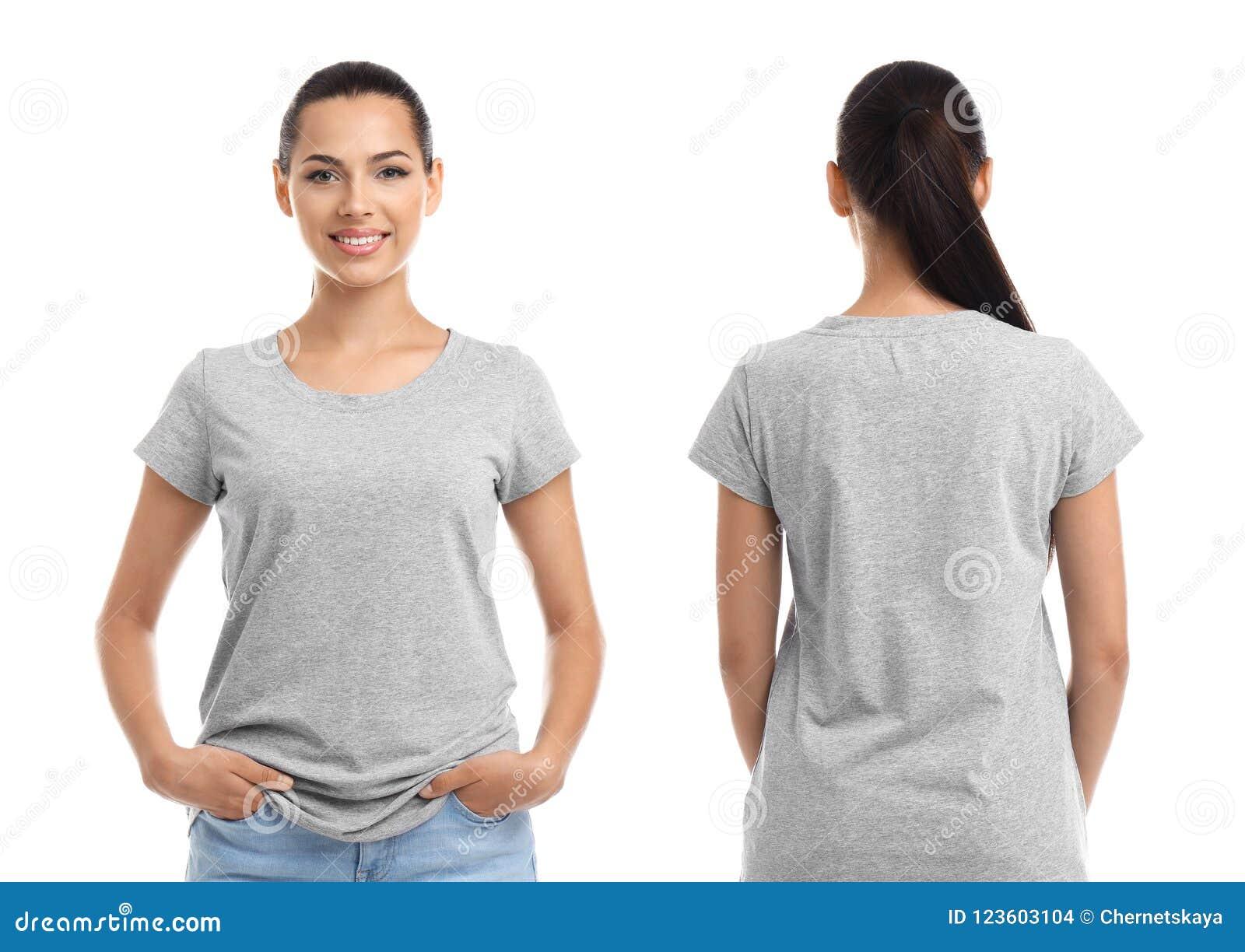 Stać na czele i tylni widoki młoda kobieta w popielatej koszulce