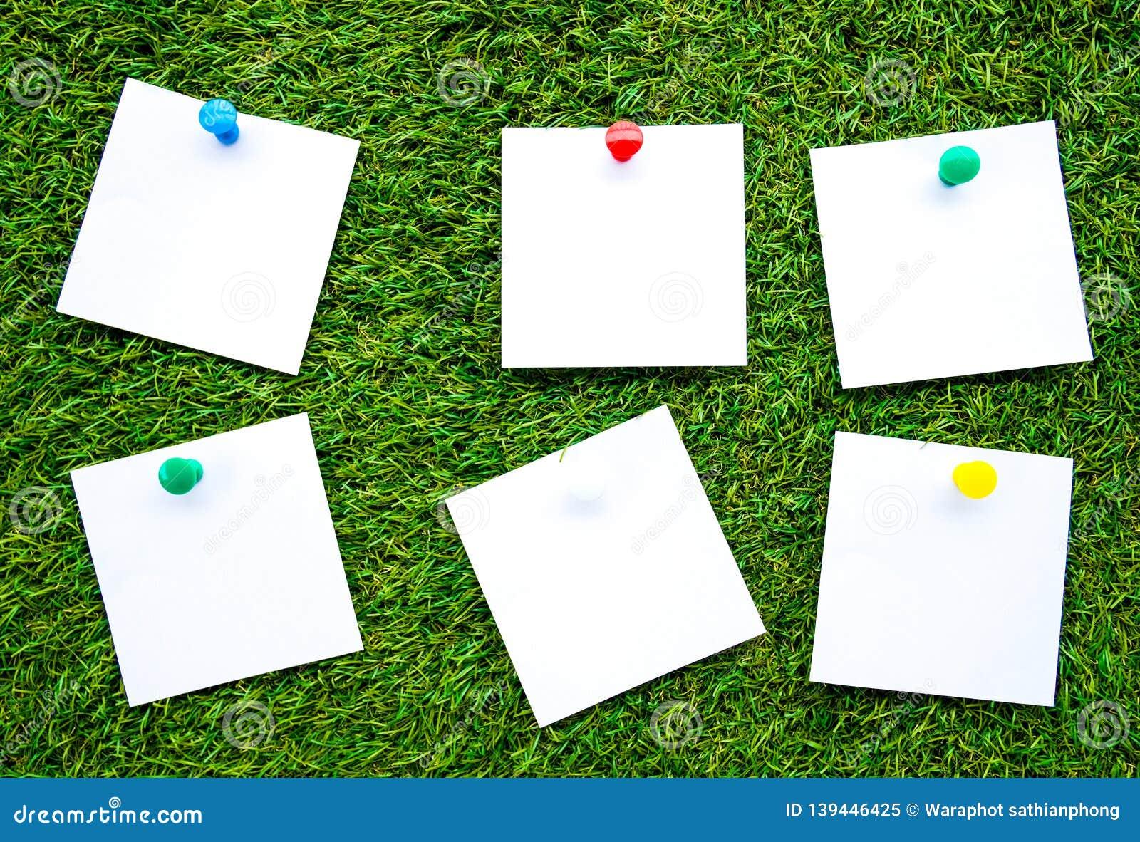 Stałego koloru notatki, odosobnione na sztucznym trawy tle