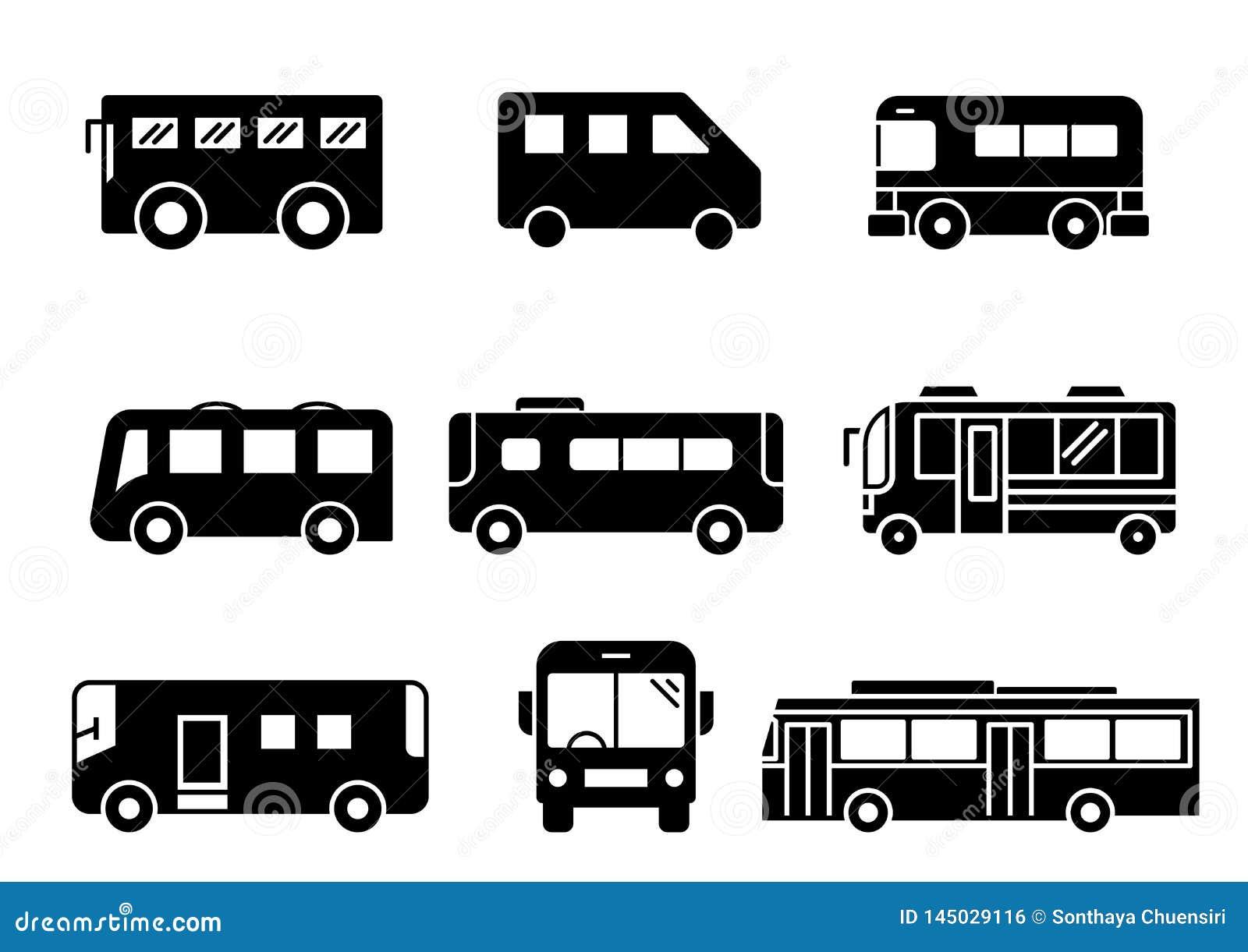 Stały ikona autobusu set