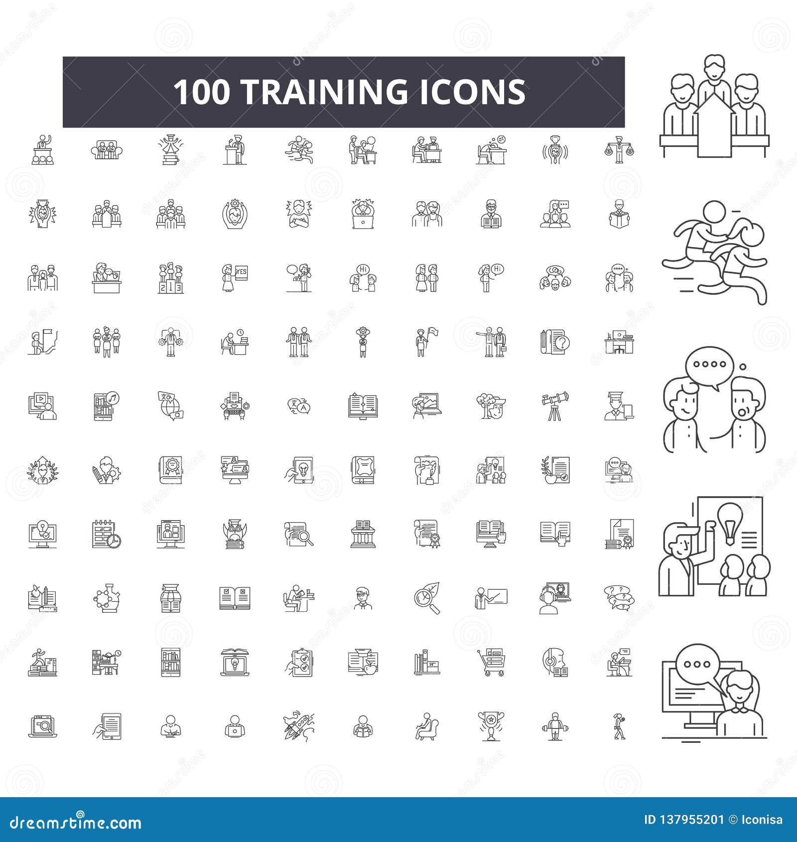 Stażowe editable kreskowe ikony, 100 wektorów set, kolekcja Stażowe czarne kontur ilustracje, znaki, symbole