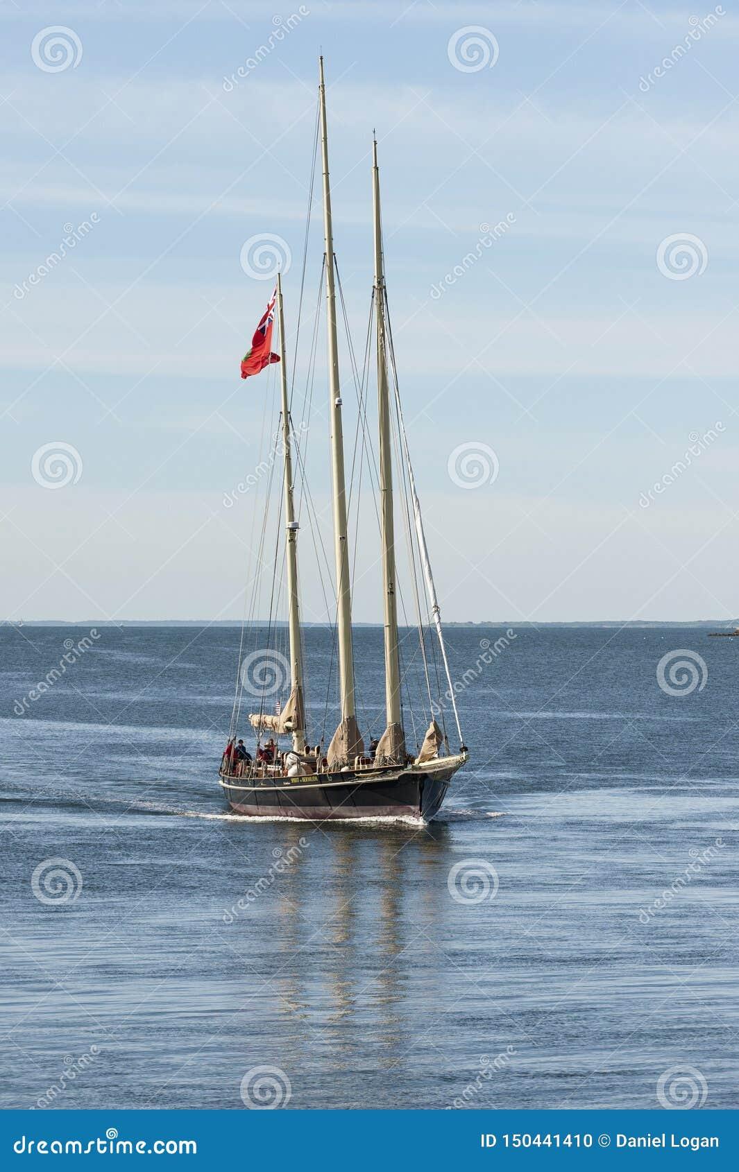 Stażowy naczynie duch Bermuda kłoszenie w kierunku Fairhaven pod władzą