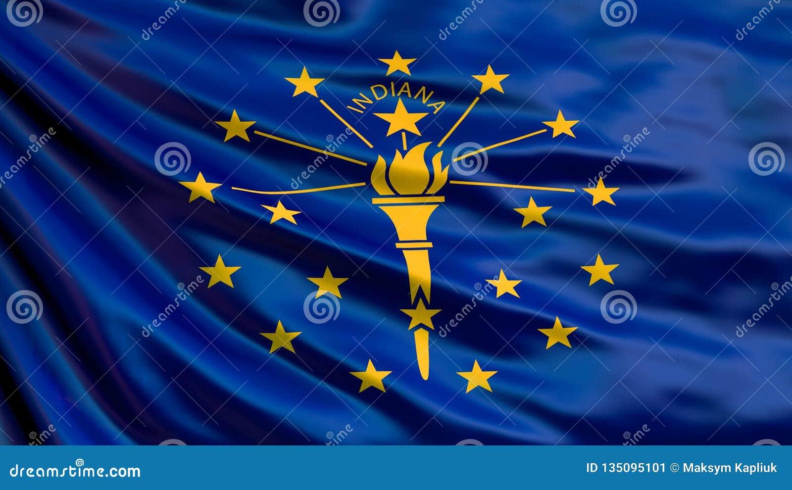 Staat Indianamarkierungsfahne Abbildung 3D