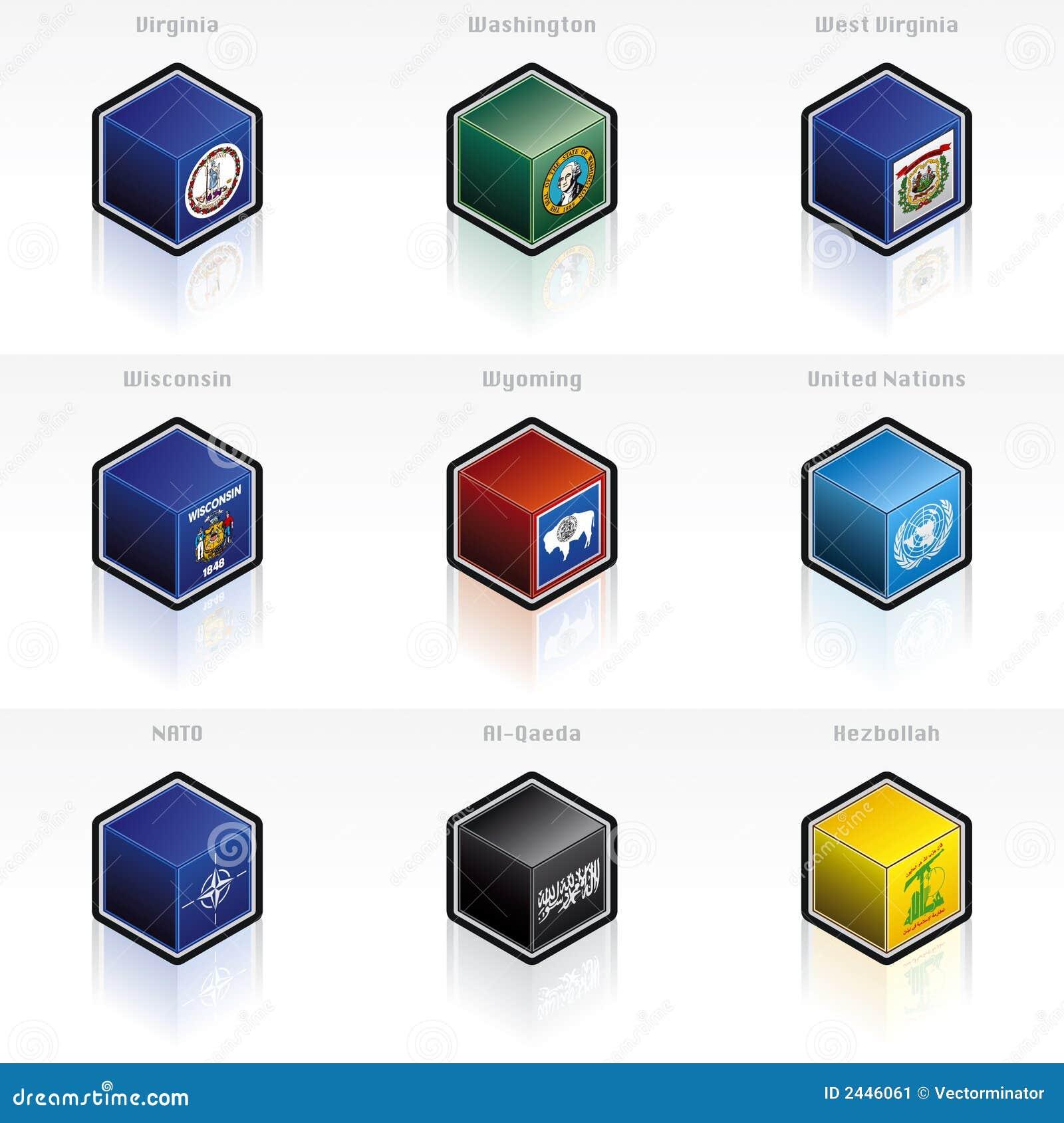 Staat-Markierungsfahnen-Ikonen eingestellt