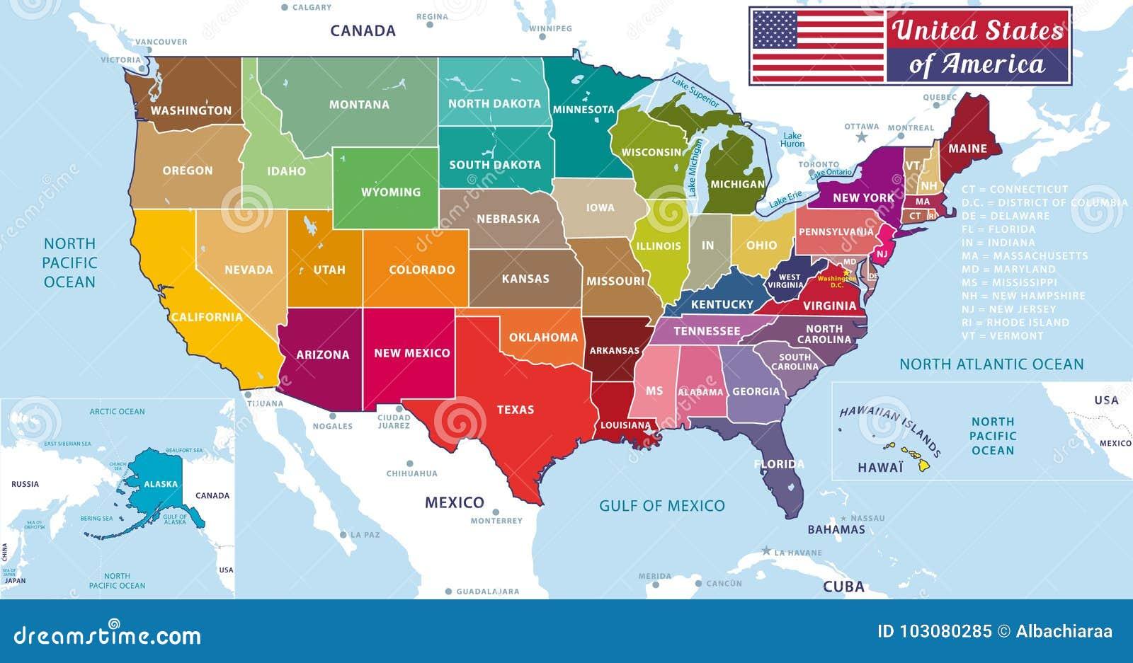 Amerika Karte Staaten.Staaten Von Amerika Schone Und Bunte Moderne Grafik Usa