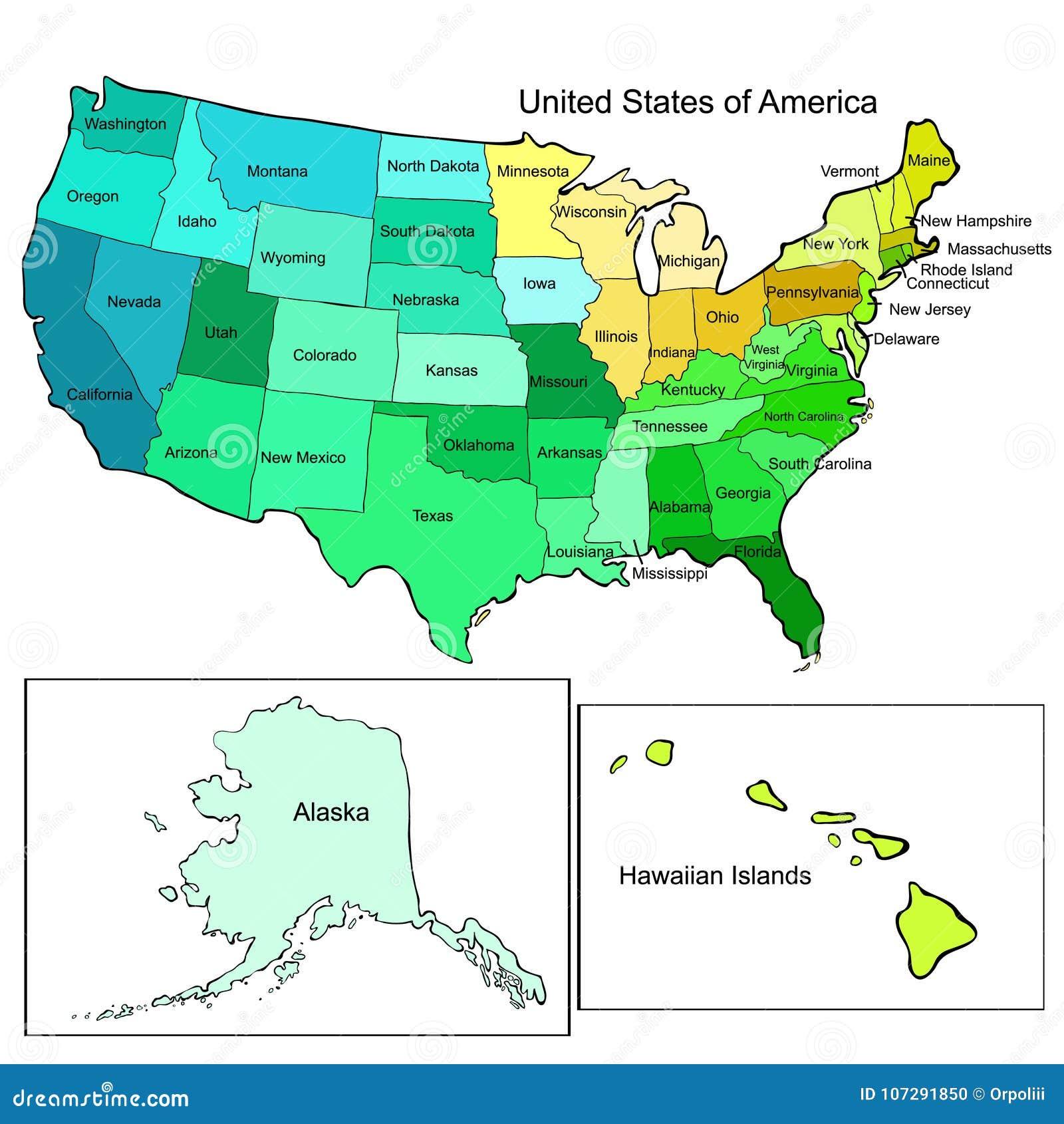 Amerika Karte Staaten.Staaten Von Amerikakarte Auch Im Corel Abgehobenen Betrag