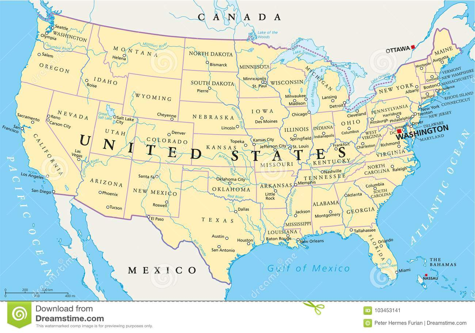 Staaten Von Amerikapolitische Karte Vektor Abbildung