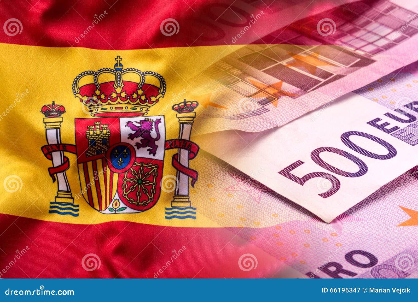 Staatsflagge von Spanien und von Eurobanknote - Konzept Stapel der Euromünzen Fokus auf Seil Fünf, 10 und fünfzig Eurobanknoten