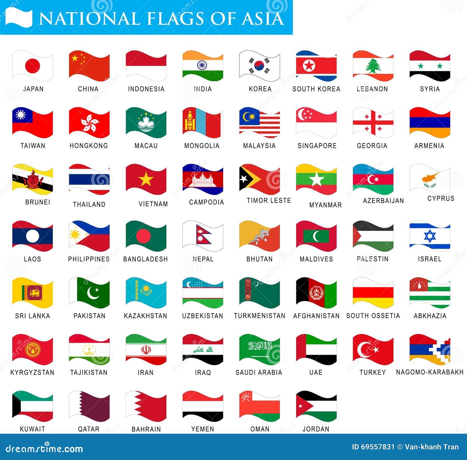 Staatsflaggen von Asien