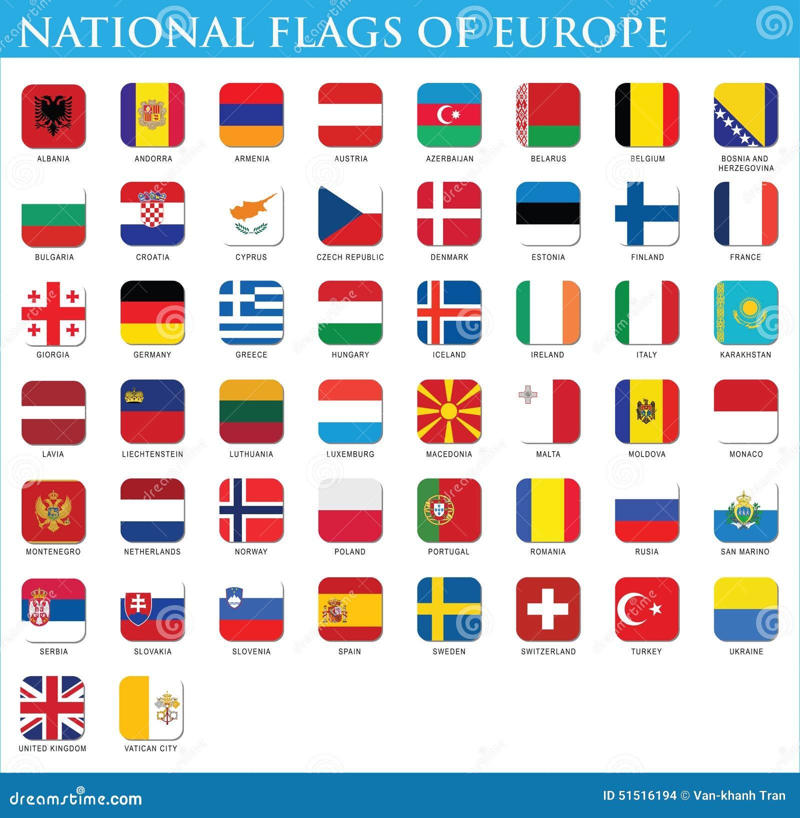 Staatsflaggen von Europa