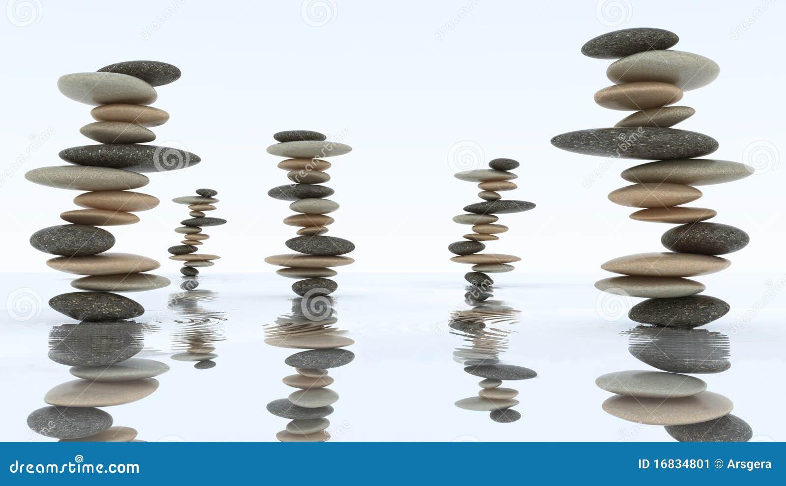 Stabilité et harmonie. Piles de caillou sur l eau