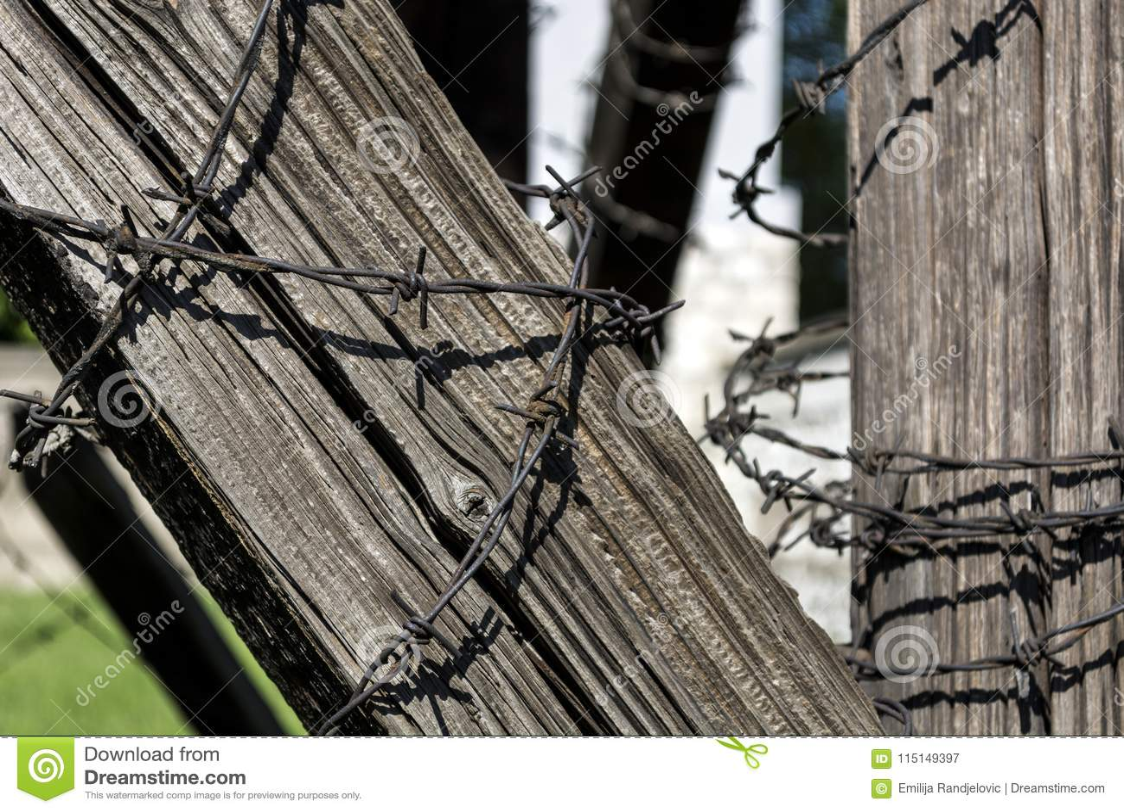 Stacheldraht auf altem Holzbalken