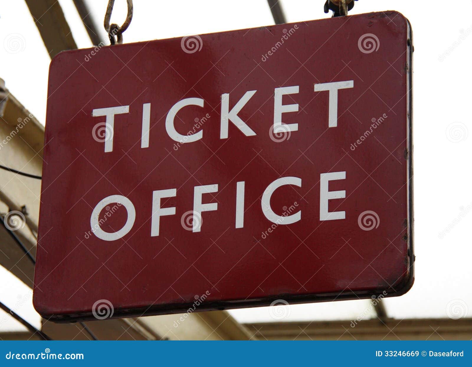 Staci Kolejowej Biletowego biura znak.