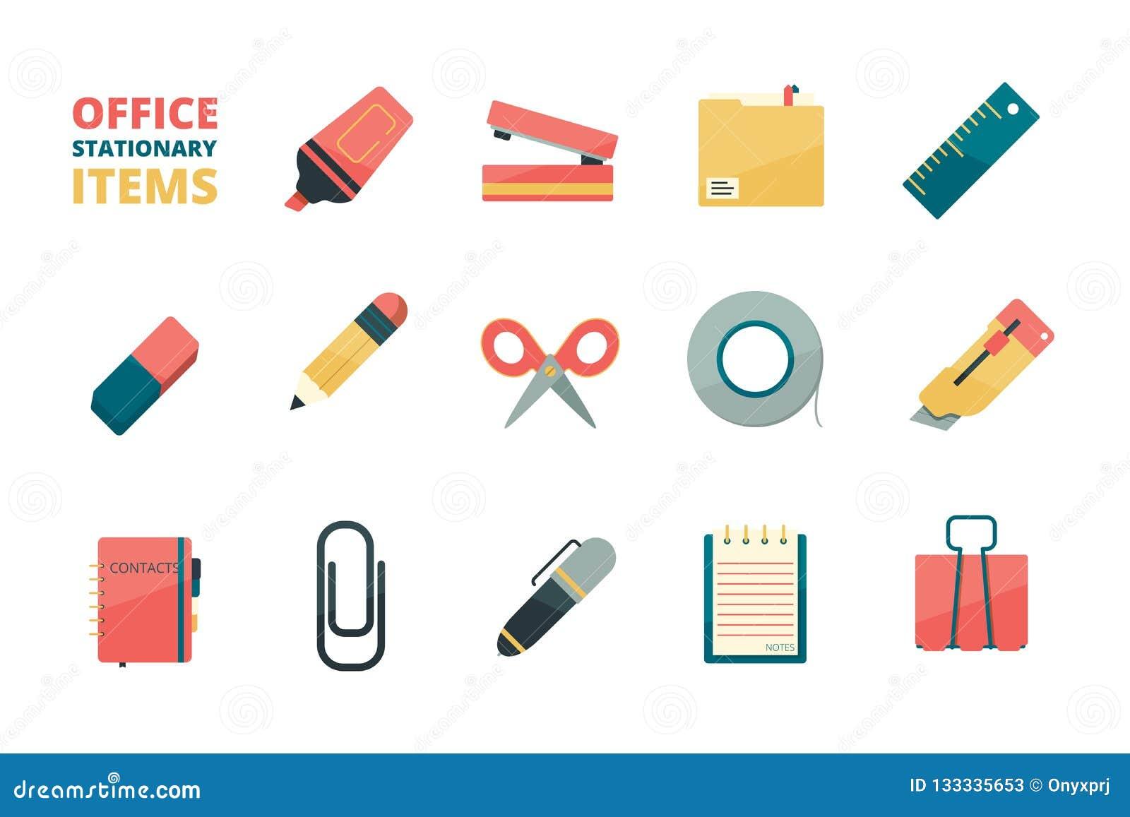 Stacjonarne rzeczy Biznesowego biura narzędzi ołówkowej gumki pióra papierowej klamerki zszywacza papierowego skoroszytowego mark
