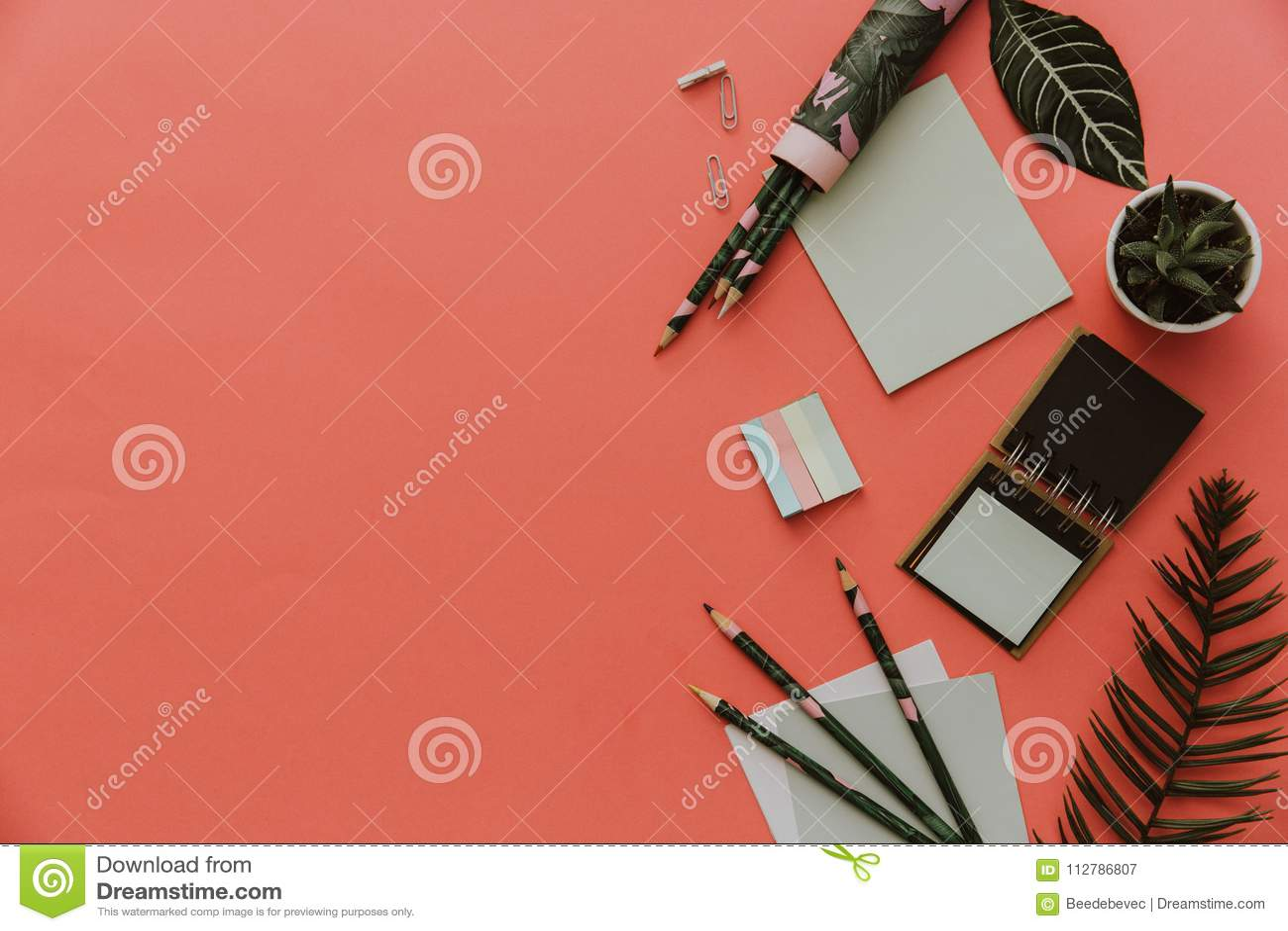 Stacjonarny pojęcie, mieszkanie Nieatutowa nożyce fotografia, ołówki, papier na różowym tle